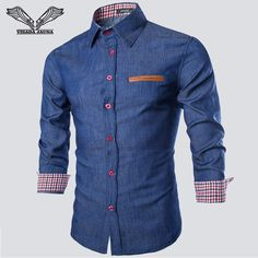 Plus Size New Fashion Men Shirt Casual Long Sleeve Denim Shirts Fashion Slim Fit Business Camisa Jeans Masculina Chemise Homme Stylish Shirts, Casual Shirts For Men, Men Casual, Denim Shirt Men, Denim Jeans, Dark Jeans, Patched Denim, Mens Cowboy Shirts, Plaid Shirts