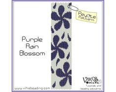 Peyote Stitch Pattern Purple Rain Blossom by VikisBeadingPatterns, $6.50
