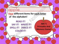 Practice Reading and Writing - This product is to help with learning ABC'S using alphabetical items. There are four different items representing each letter of the alphabet. There are total of 26 different printable worksheets and 26 black and white worksheets. Read it! Say it! Write it! Spell it! Trace it! Color it! Two sets of black and white to be use in memory card game..  A GIVEAWAY promotion for Practice ABCS by Reading Writing and Tracing Printable and Memory Game from Donna-Thompson ...