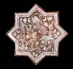 Star tile with prince on horseback Persian Seljuk A. September, 1211 (A. Tile Art, Mosaic Art, Ancient Persian, Antique Tiles, Iranian Art, Panel Art, Museum Of Fine Arts, Illuminated Manuscript, Ceramic Painting