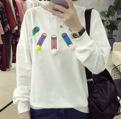 313aafaaa4 Pencil embroidered sweatshirt for girls pullover sweatshirts with pom pom  Spring Fashion 2017
