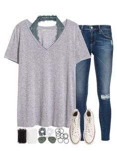 """""""ugh i need advice, please pm me..."""" by sarahc01 ❤ liked on Polyvore featuring Ray-Ban, Free People, H&M, AG Adriano Goldschmied, Converse, Forever 21, Topshop and Natasha Couture"""