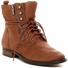 Sam Edelman Mackay Leather Boot ($90) ❤ liked on Polyvore featuring shoes, boots, ankle booties, ankle boots, dk brown, leather lace up boots, leather booties, brown lace up booties, short leather boots and lace up boots