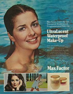 """https://flic.kr/p/pvPbQc   1972 Beauty Ad, Max Factor UltraLucent Waterproof Make-up, with Young Cristina Ferrare in Pool   Vintage 1970s magazine advertisement for Max Factor UltraLucent Waterproof Make-up, featuring cover girl model and ingenue actress Cristina Ferrare (b. February 18, 1950). Tagline: """"Max Factor creates the first Waterproof, Weatherproof, Perspiration-proof Make-Up."""" Published in Seventeen magazine, June 1972, Vol. 31 No. 6 Fair use/no known copyright. If you..."""