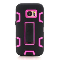 Phone Cases for Samsung Galaxy S7/S7 Edge Full Body Protect Cover Kickstand Case Soft Silicone Hard PC Back Shell for S7/S7 Edge