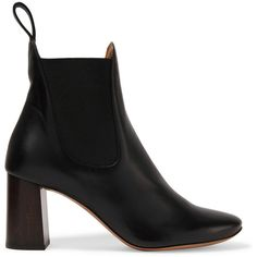 Chloé Leather boots (€750) ❤ liked on Polyvore featuring shoes, boots, black, black high heel boots, black slip on boots, black slip-on shoes, slip on boots and leather high heel boots