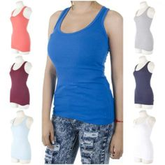 ebclo - Basic Racerback Muscle Tank Top Scoop Round Neck Sleeveless Tee NEW $9.00 Free Domestic Shipping