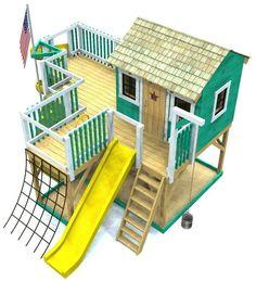 Backyard Diy Playground Playhouse Plans 38 Ideas For 2019 Kids Playhouse Plans, Backyard Playhouse, Build A Playhouse, Childrens Playhouse, Outdoor Playhouses, Big Backyard, Outdoor Toys, Outdoor Fun, Toddler Playground