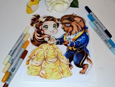 Chibi Belle and Beast - a rather challenging commission, but also an awesome idea and a very good way to practice, as I really don't draw beasts and mal. Beauty and the Beast Art Kawaii, Cute Kawaii Drawings, Anime Kawaii, Anime Chibi, Disney Chibi, Kawaii Disney, Beauty And The Beast Drawing, Disney Beauty And The Beast, Nickelodeon Cartoons