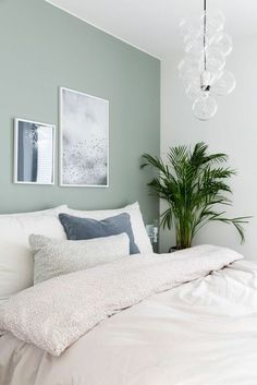 Neutral, minimalist bedroom decor with white bedding and light green walls, # . - Neutral, minimalist bedroom decor with white bedding and light green walls, # bedding - Best Bedroom Paint Colors, Bedroom Ideas Paint, Bedroom Wall Colour Ideas, Colors For Bedrooms, Bedroom Colour Schemes Green, Bedroom Ideas For Small Rooms For Adults, Relaxing Bedroom Colors, Color Walls, Bed Room Painting Ideas