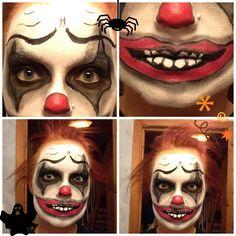 Scary clown makeup for halloween! #halloween Halloween Dress, Halloween 2018, Halloween Make Up, Scary Halloween, Halloween Costumes, Scary Clown Makeup, Scary Clowns, Amazing Halloween Makeup, Halloween Face Makeup