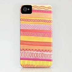 Tribal#1 (Orange/Pink/Yellow) iPhone Case by haleyivers - $35.00