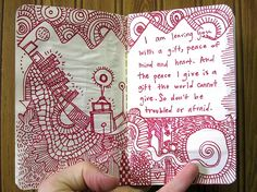 "Zentangle. A very relaxing and a nice addition to a journal...Art Journal - ""Peace"""