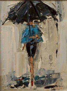 "daily painters of atlanta: ""Dancing in the Rain by Kathryn Morris Trotter Art Texture, Rain Art, Umbrella Art, Daily Painters, Dancing In The Rain, Art Design, Oeuvre D'art, Painting & Drawing, Rain Painting"