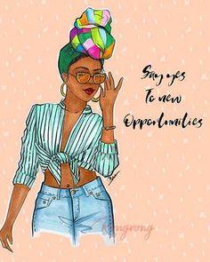 Fashion Art Print | Fashion Wall Art | Shop Rongrong Page 4 Black Love Art, Black Girl Art, Black Girls Rock, Black Is Beautiful, Black Girl Magic, Black Women Quotes, Black Girl Cartoon, Black Art Pictures, Black Artwork