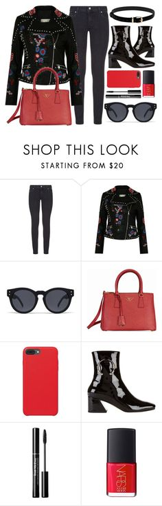 """""""Embroidered"""" by smartbuyglasses-uk ❤ liked on Polyvore featuring Paige Denim, Quay, Prada, Dorateymur, NARS Cosmetics, black, red and QuaySunglasses"""