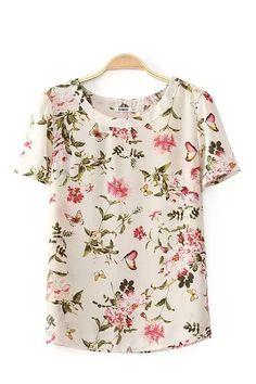 O-neck Short Sleeves Chiffon Floral Printed T-shirt