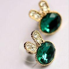 Hot Fashion Pendientes New Crystal Green Gem Rabit Stud Earrings For Women Jewelry Accessories Cheap Wholesale Boucles Sterling Silver Earrings Studs, Crystal Earrings, Beaded Earrings, Crystal Rhinestone, Earrings Handmade, Earring Studs, Diamond Earrings, Ring Earrings, Elephant Earrings