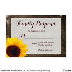 Sunflower Wood Rustic Country Wedding RSVP Cards