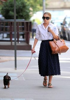 summer chic in the city. love a midi length skirt.