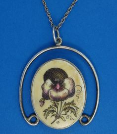 ELEGANT HAND PAINTED ENAMEL STERLING SILVER PENDANT & CHAIN NECKLACE by CONTEMPO #Contempo