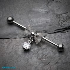 Adorable Mesh Bow-Tie Industrial Barbell – Piercings, You can collect images you discovered organize them, add your own ideas to your collections and share with other people. Industrial Piercing Barbells, Industrial Earrings, Industrial Piercing Jewelry, Barbell Piercing, Industrial Barbell, Piercing Tattoo, Body Piercing, Industrial Bars, Ear Jewelry