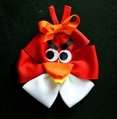 Angry Birds hair bow, too cute. @Catherine Smith - we should make one of these for Sam's kid.