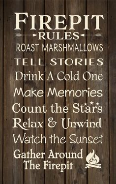 Firepit Rules Banner Cabin, Backyard Decor Christmas Gift, Secret Santa, Happy…