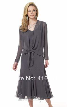 gray chiffon tiered tea length dress | Chiffon Gray Tea Length Sheath Elegant Fashion Vintage Mother Of The ...