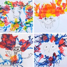 NAC-- use my Di Reavely spray colors or ink splats...Monster Blow Painting - an easy art idea