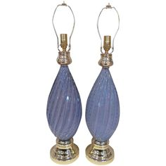Pair of Murano Lavender Twist Lamps with Controlled Bubbles | From a unique collection of antique and modern table lamps at https://www.1stdibs.com/furniture/lighting/table-lamps/