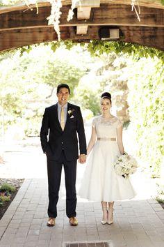 David's Bridal bride Bri in a short wedding dress,