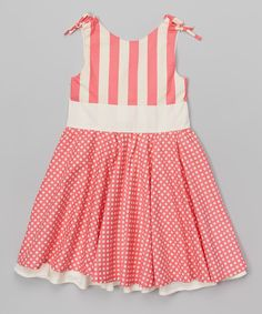 Look at this Hot Pink & Cream Stripe & Dot Reversible Dress - Toddler & Girls on #zulily today!