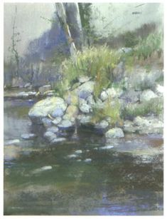 """""""Along the Stream Bed"""" pastel mixed media by Albert Handell"""