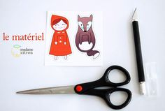 little red riding hood - free printable madame-citron. Free Printable Bookmarks, Diy Bookmarks, Diy Marque Page, Red Riding Hood Party, Origami, Activities For Kids, Crafts For Kids, Charles Perrault, Toddler Busy Bags