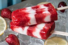 Yogurt and Strawberry Popsicles