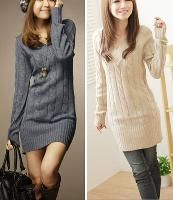 Wholesale Fashion Girls Pullover Solid Sweater Dress For Women V Neck Knitwears Autumn Winter Over Hip Color