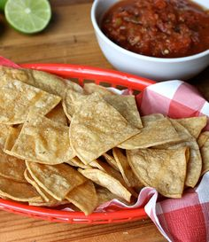 These baked corn tortilla chips taste fresh and have a satisfying crunch you'll love, without the guilt. I wanna try 'em