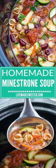 Easy Slow Cooker Homemade Minestrone Soup - A dump and go crock-pot meal that's perfect for busy weeknights! Full of healthy vegetables with white and kidney beans. Olive Garden Copycat but so much better for you since you can customize the ingredients. So cozy, comforting & delicious! Just set and forget it!