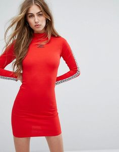 eae2553227 Umbro High Neck Bodycon Dress With Arm Tape Logo - Red Red Turtleneck, Long  Sleeve