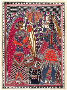 Lord Shiva and Parvati's Wedding - Madhubani Painting