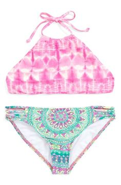 Billabong Billabong 'Surf Friends' Two-Piece Swimsuit (Big Girls) available at Bathing Suits For Teens, Summer Bathing Suits, Cute Bathing Suits, Best Swimwear, Trendy Swimwear, Kids Swimwear, Cute Bikinis, Cute Swimsuits, Two Piece Swimsuits