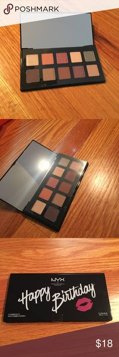 NTW NYX birthday eyeshadow palette NWT. Eyeshadow palette still covered with plastic. Neural tones. 10 colors. Mirror on top. Special edition NYX Makeup Eyeshadow