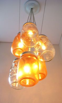 Mason Jar Chandelier - Mason Jar Lighting - Amber Sunset Clear and Tangerine - Handcrafted UpCycled BootsNGus Hanging Pendant Light Fixture