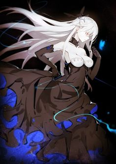 Anime picture 700x993 with  original ryuugasaki ichi long hair single tall image breasts red eyes simple background bare shoulders white hair profile midriff wind glowing black glowing eye (eyes) looking down white skin albino girl