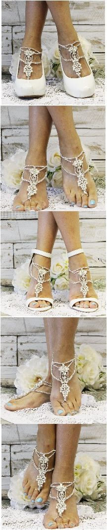 Make your dream wedding even more special with our stunning rhinestone and pearl barefoot sandals. Feel like a fairy tale Princess wearing these silver pearl jeweled wedding barefoot sandals. Wear them barefoot or with  your wedding shoes.  Larger fit: one size fits most women 7-13. The closure on this sandal is on the side, so when you walk down the aisle your guests see rhinestones IN  STOCK  AND READY TO SHIP IN 1-2 BUSINESS DAYS FROM NC
