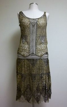 1920s Lace Flapper Drop Waist Dress in Gold and Black