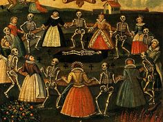 A detail from an 18th-century oil painting depiction of the Dance of Death. Skeletons have been dancing people to their graves since at least 1424.