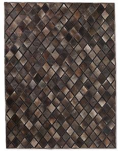Cowhide Diamante Rug - Charcoal 12' x 15' $10,754.  100% Hair on hide.