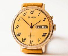 Soviet watch  men's watch gold plated  mechanical by SovietEra, $120.00